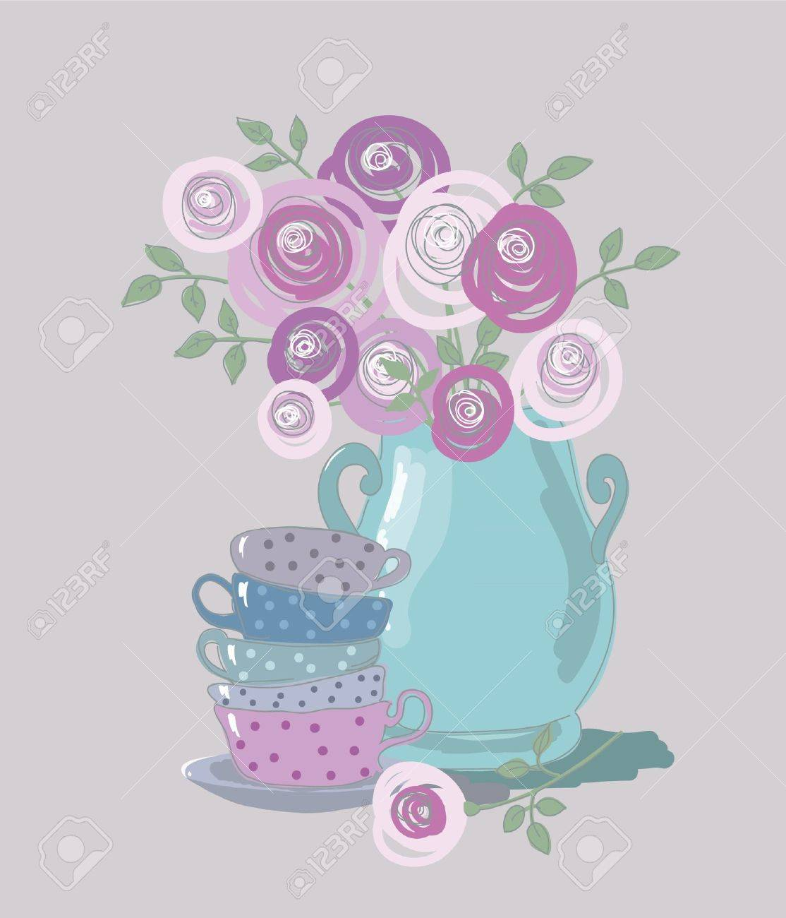 tea background with teacups and flowers Stock Vector - 15312364