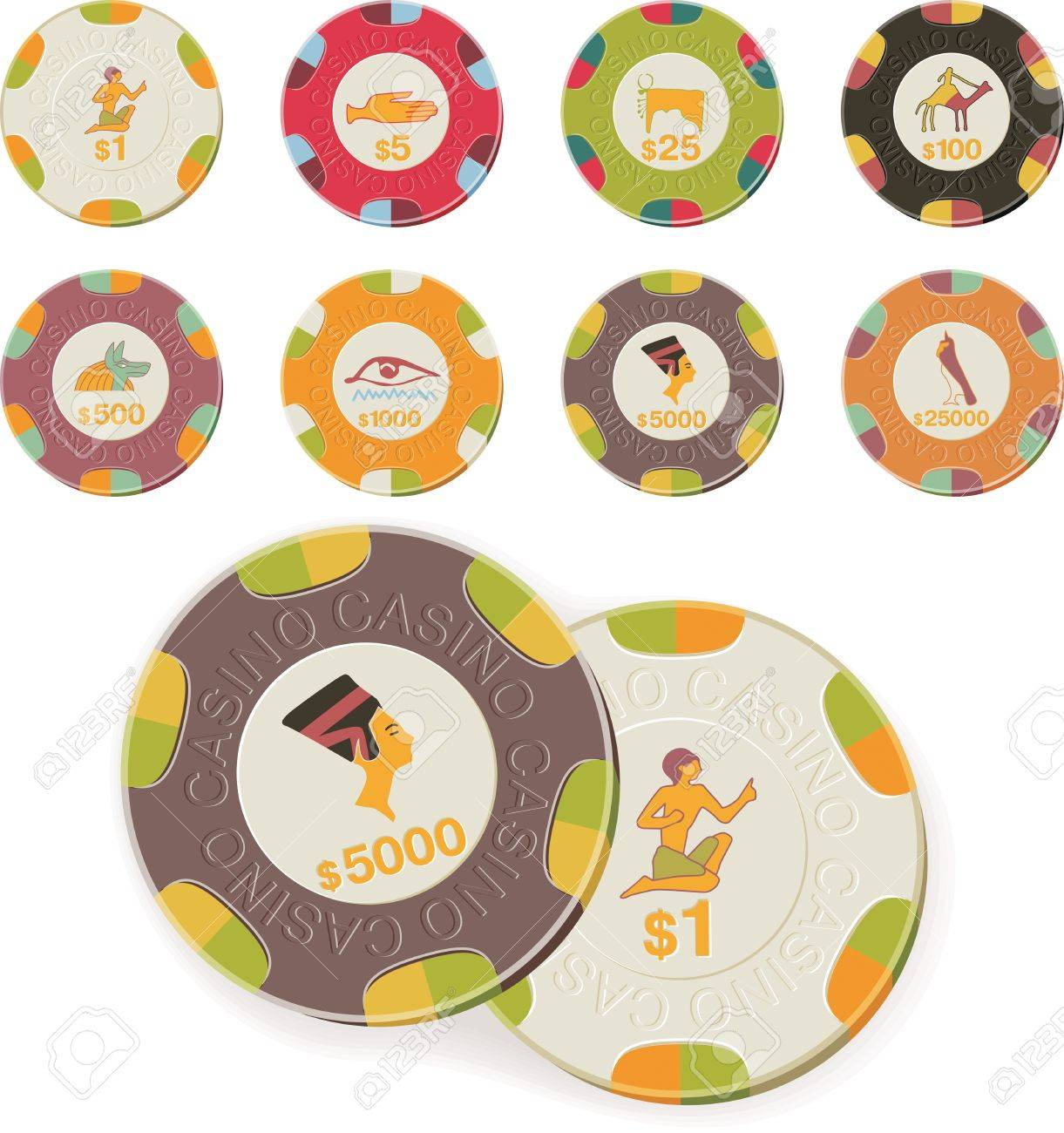 Vector casino chips set Stock Vector - 4174345