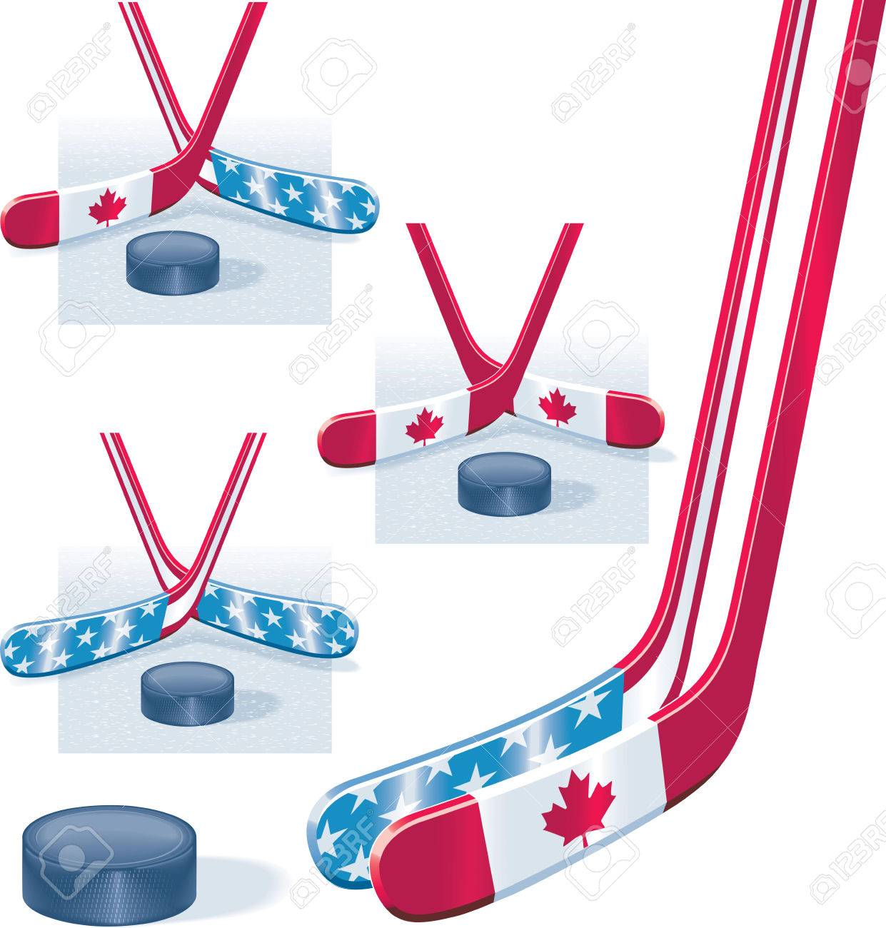Hockey sticks in USA and Canada flag colors and puck Stock Vector - 4220845