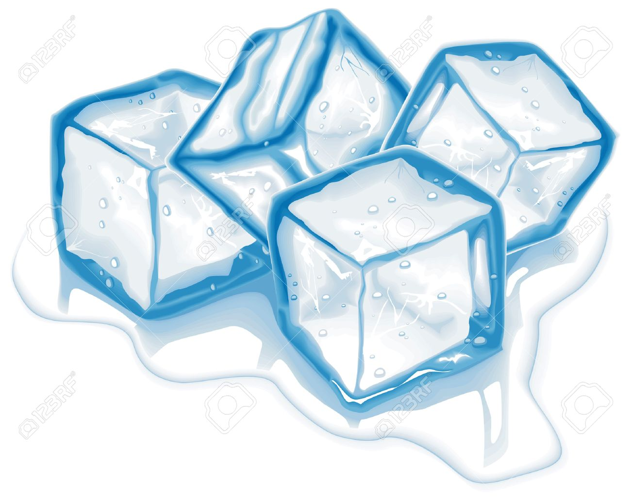 Ice Cubes Drawing 4273492-four-blue-melting-ice