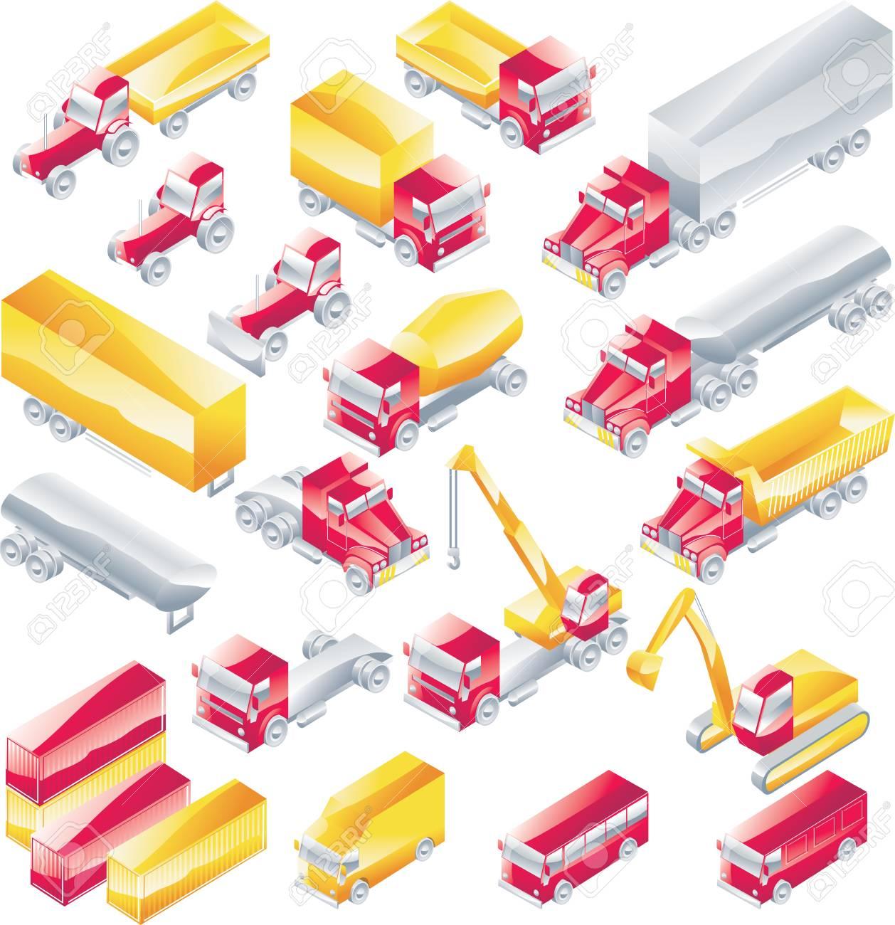 Vector trucks icon set Stock Vector - 4397242