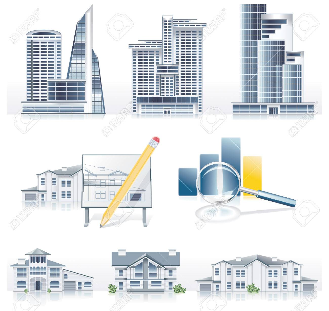 Vector detailed architecture icon set Stock Vector - 5077207