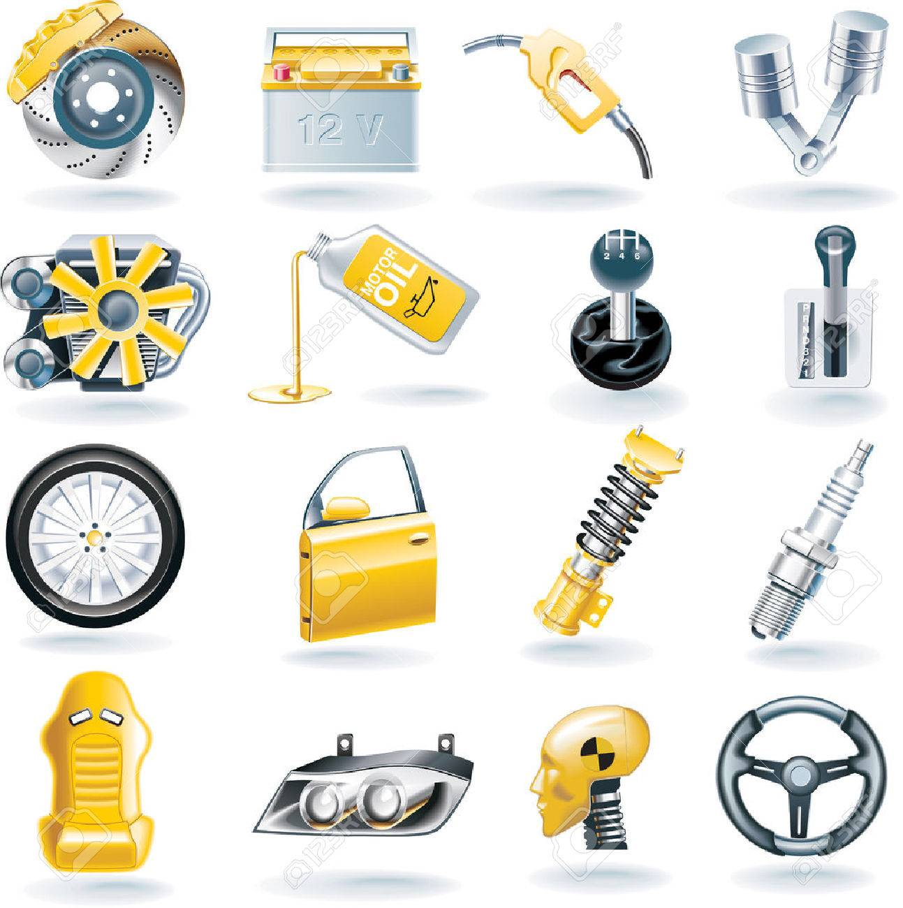 Vector car parts icon set Stock Vector - 5077208