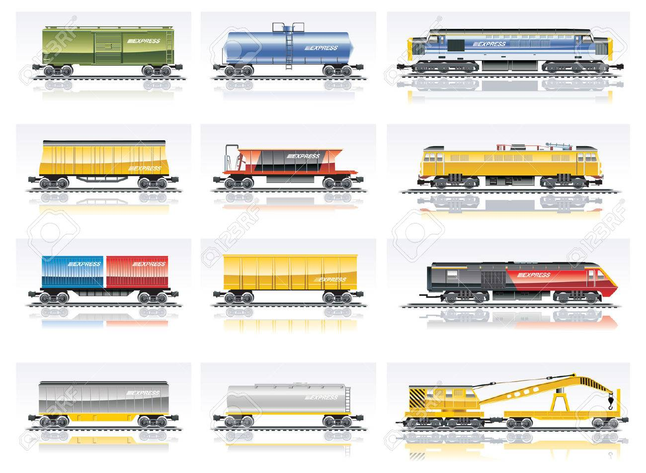 Vector railroad transportation icon set Stock Vector - 5193498