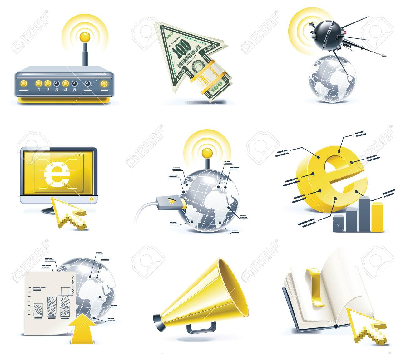 Vector communication icon set. Internet, part 1 Stock Vector - 6199073