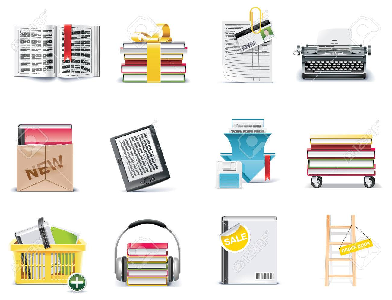 Vector library and book store icon set Stock Vector - 6617917
