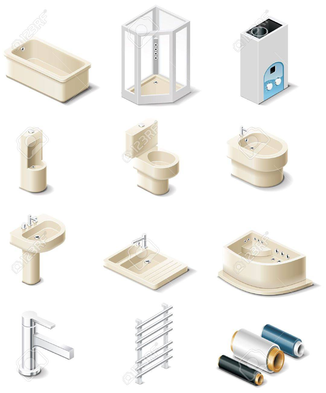 building products icons. Part 5. Sanitary engineering Stock Vector - 6670756