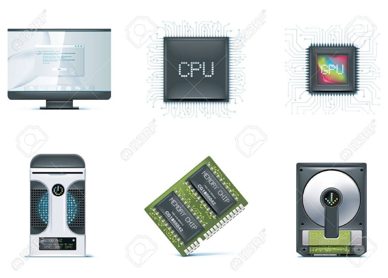 Computer icon set. Part 1 Stock Vector - 7043386