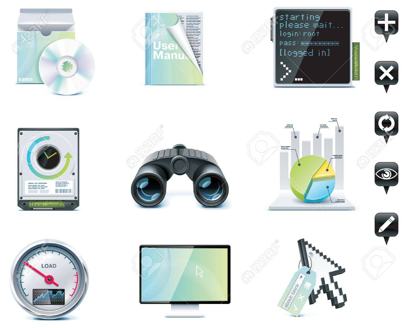 Server administration icons. Part 1 Stock Vector - 7126973