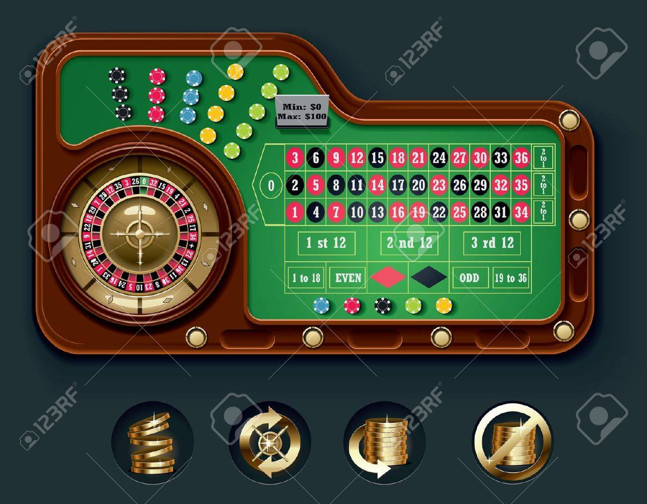 European roulette table layout - 7345887