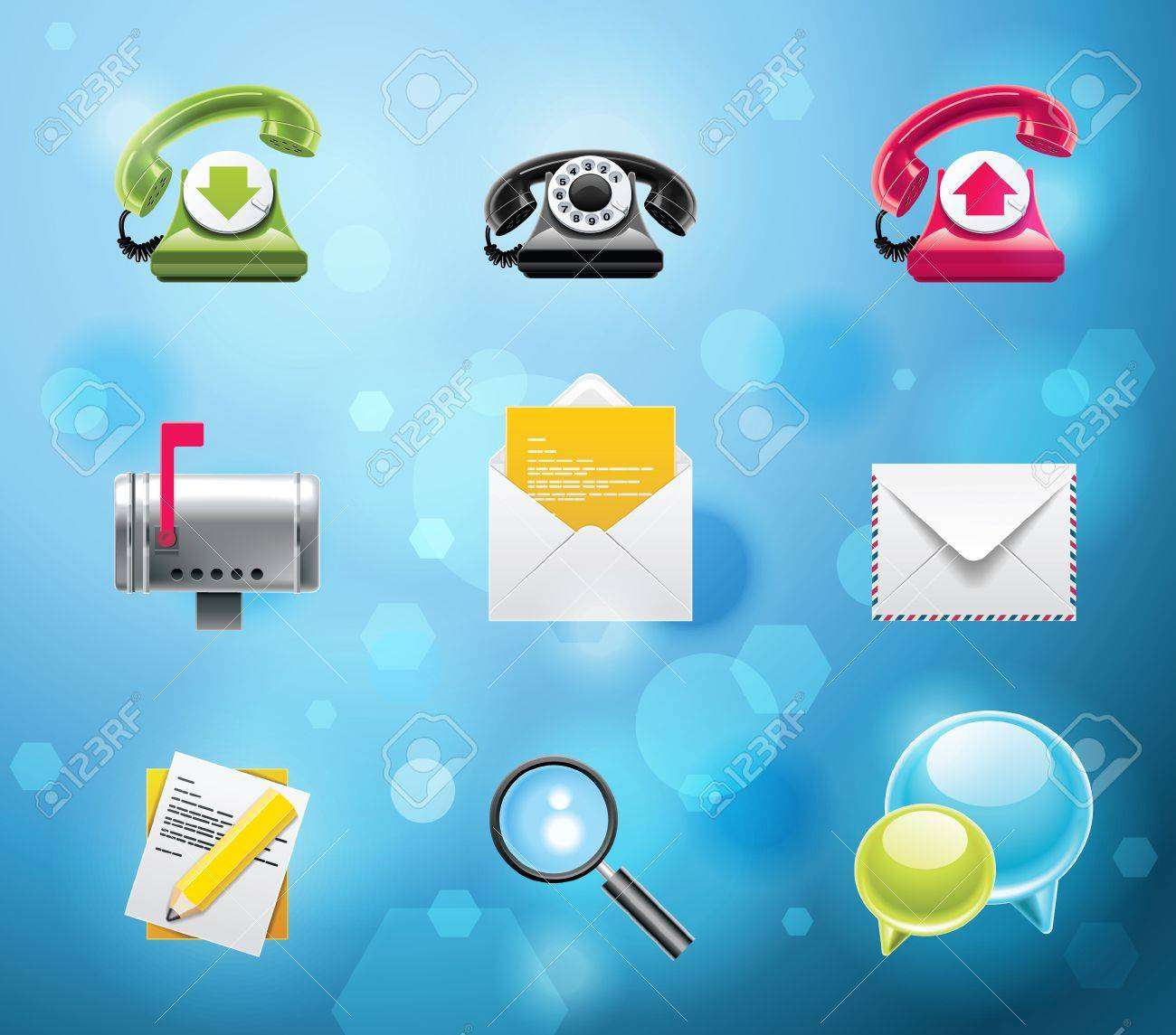 Typical mobile phone apps and services icons. EPS 10 version. Part 1 of 10 Stock Vector - 7812740