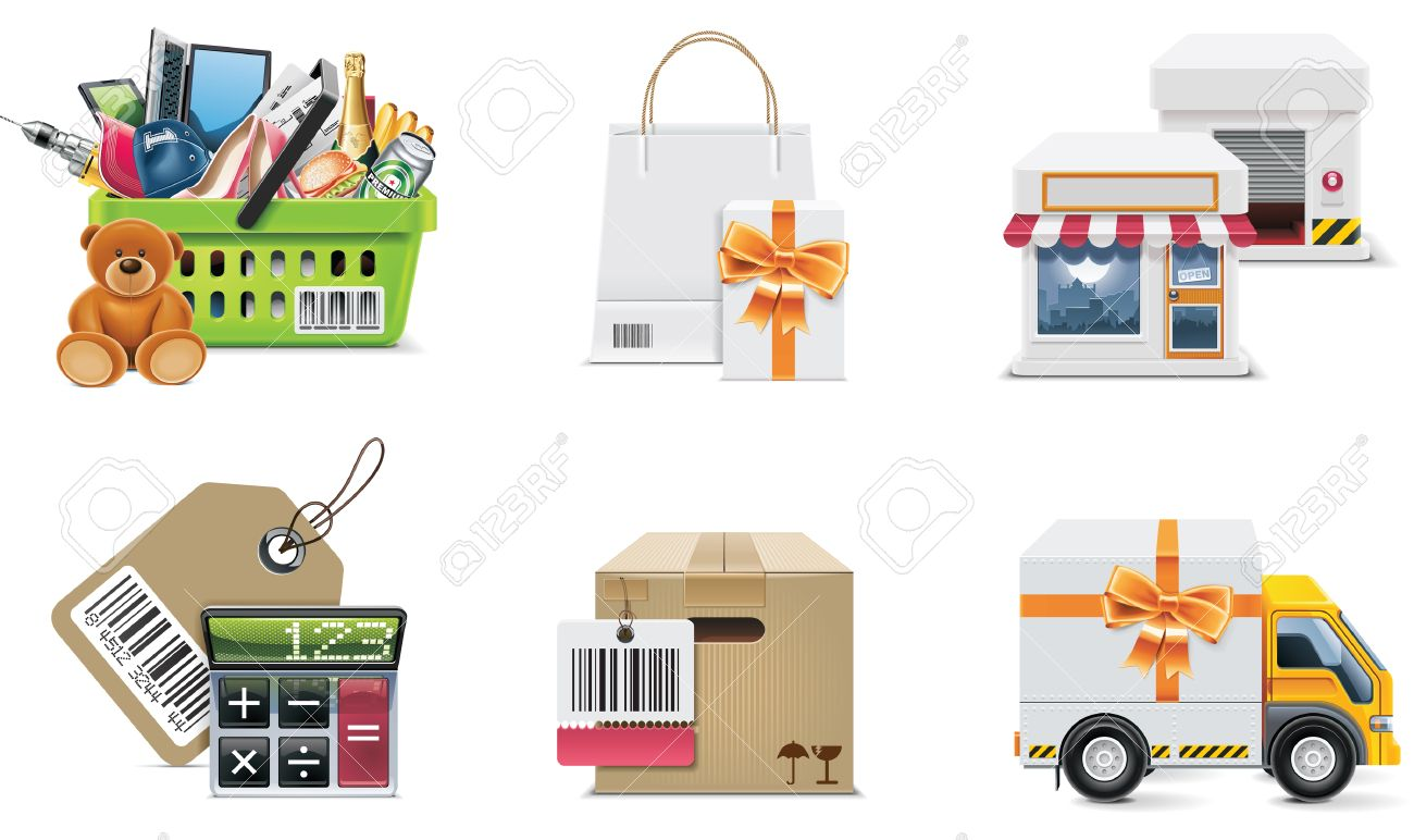 Vector shopping icon set and elements. Part 2 Stock Vector - 7812751