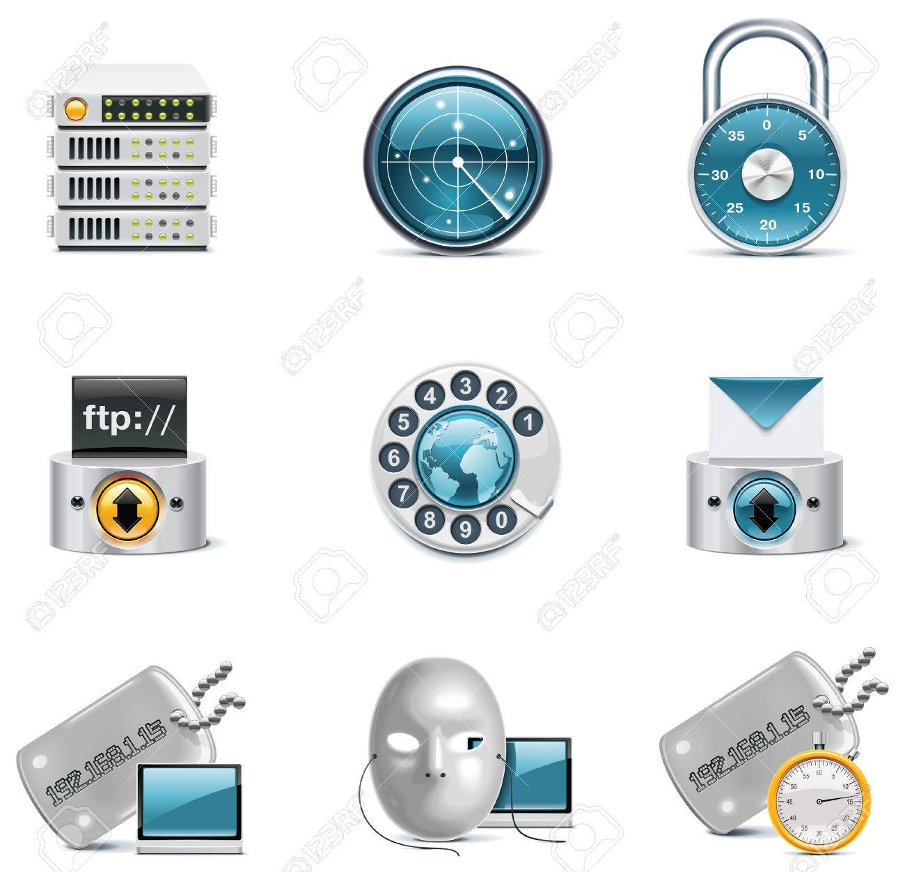 internet and network icons. Stock Vector - 8189340