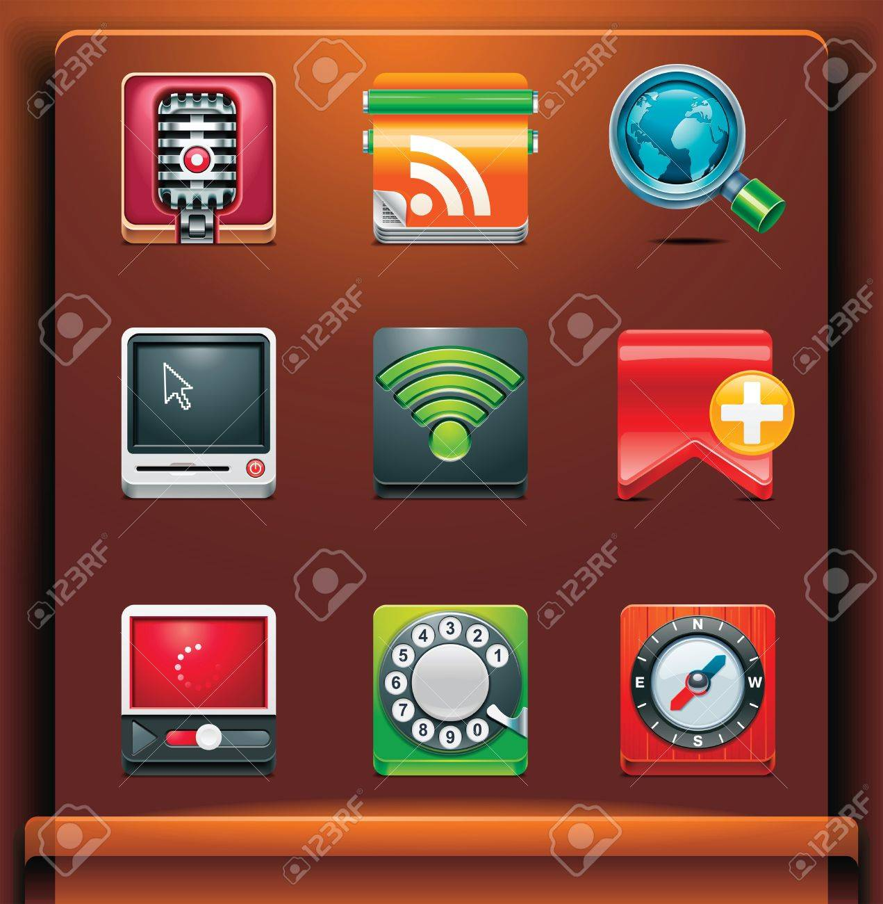 Communication. Mobile devices apps/services icons. Part 3 of 12 Stock Vector - 8413148