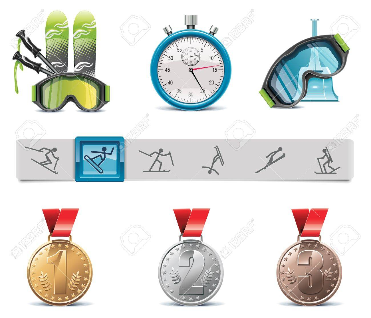 skiing icon set Stock Vector - 8770489
