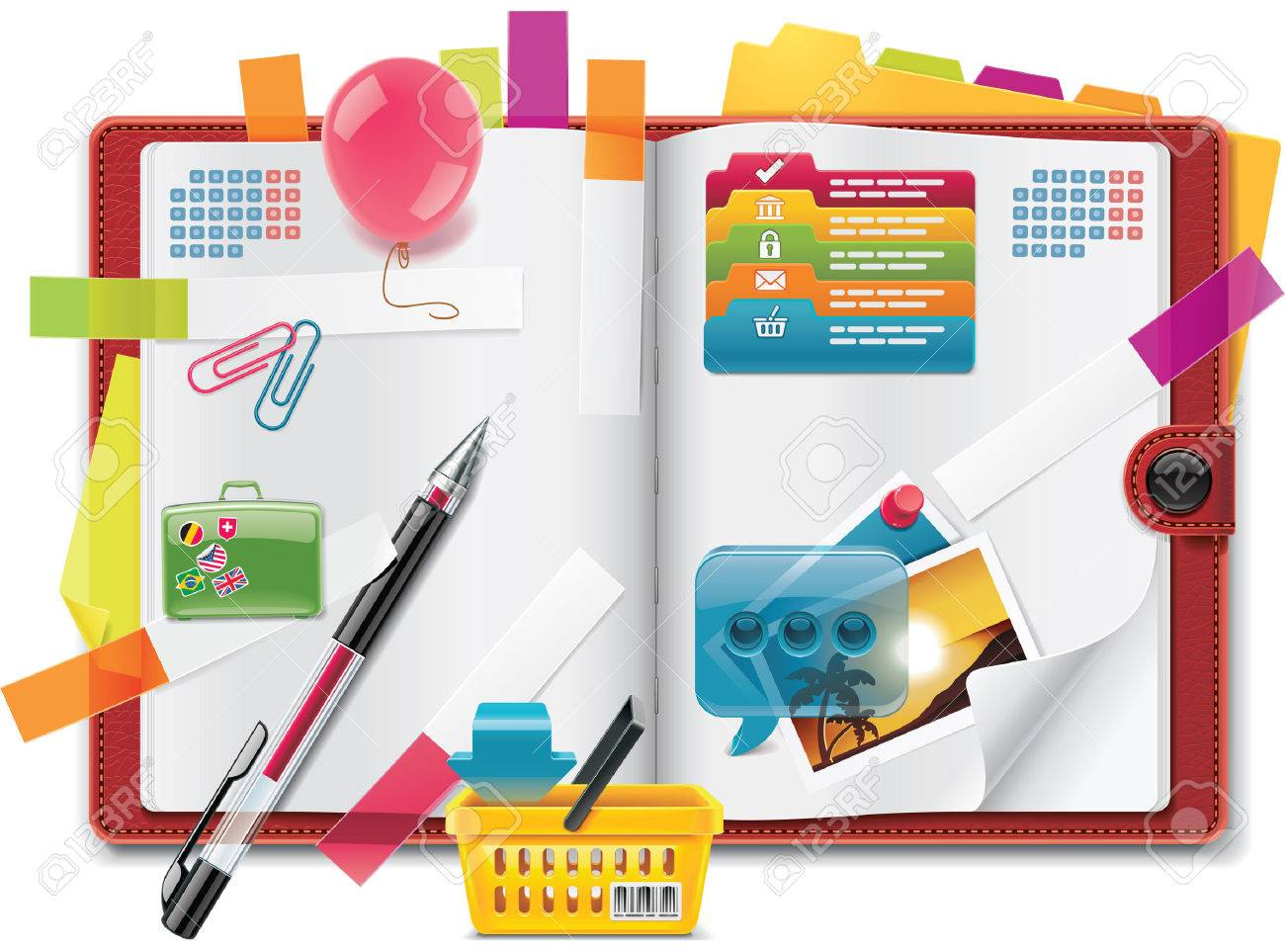 Vector personal organizer features XXL detailed icon Stock Vector - 9034450
