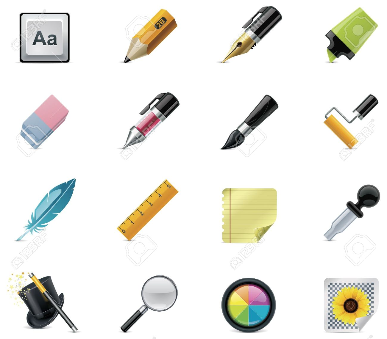 Drawing and Writing tools icon set Stock Vector - 9152272