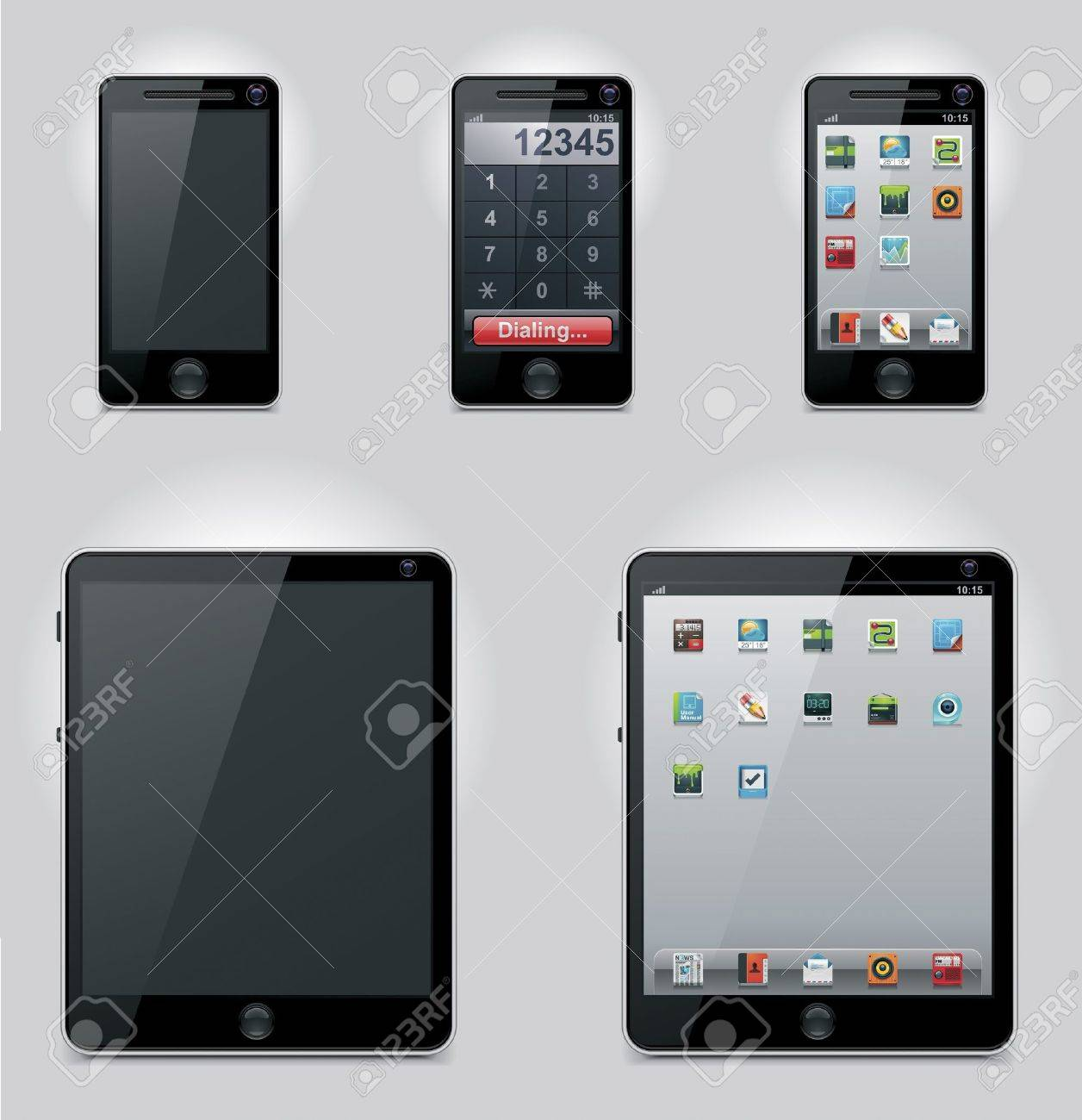 Vector tablet computer and mobile phone icons Stock Vector - 9194488