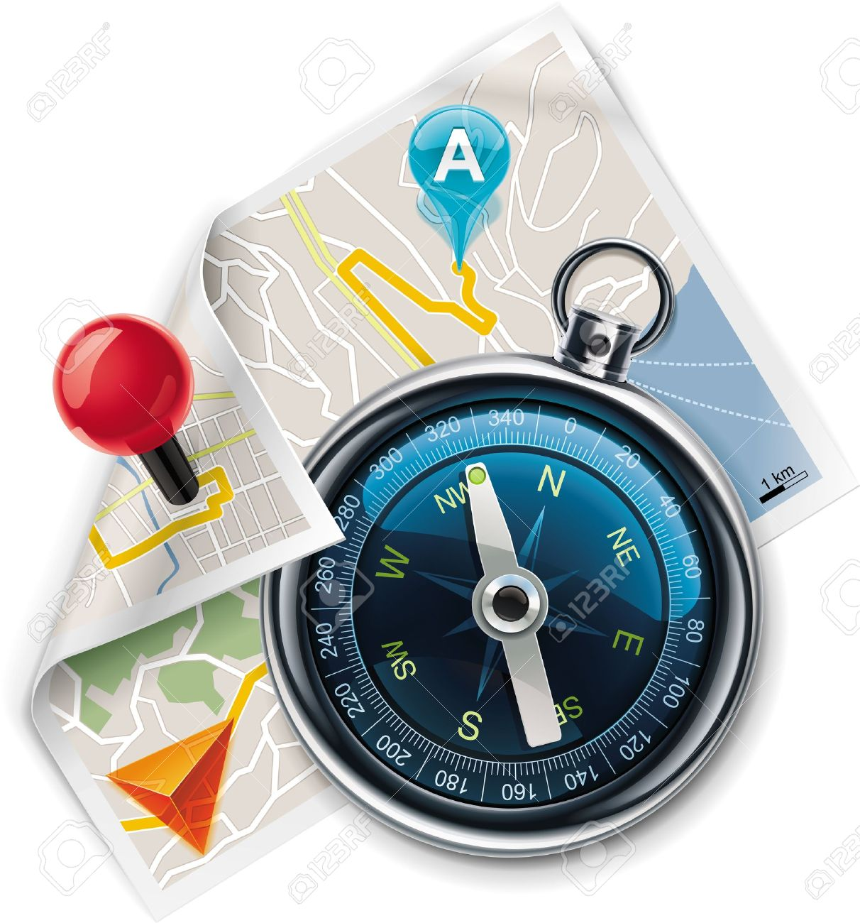 Vector navigation / route map XXL detailed icon - 9333079