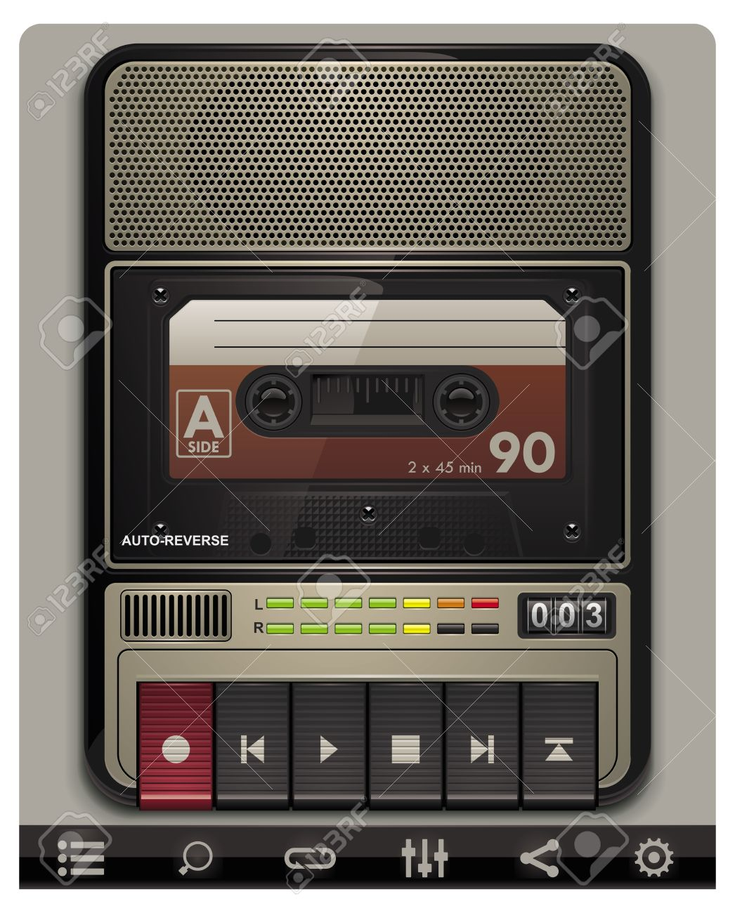 Vector cassette recorder template with icons Stock Vector - 9387486