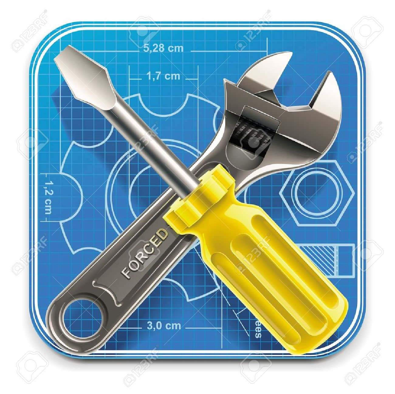 Vector wrench and screwdriver on blueprint XXL square icon Stock Vector - 9603610