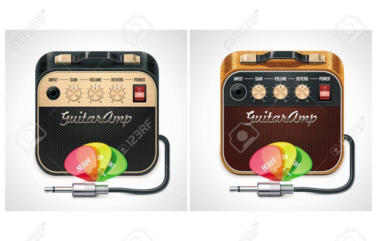 Vector guitar amplifier with picks and jack connector XXL icon Stock Vector - 9866940