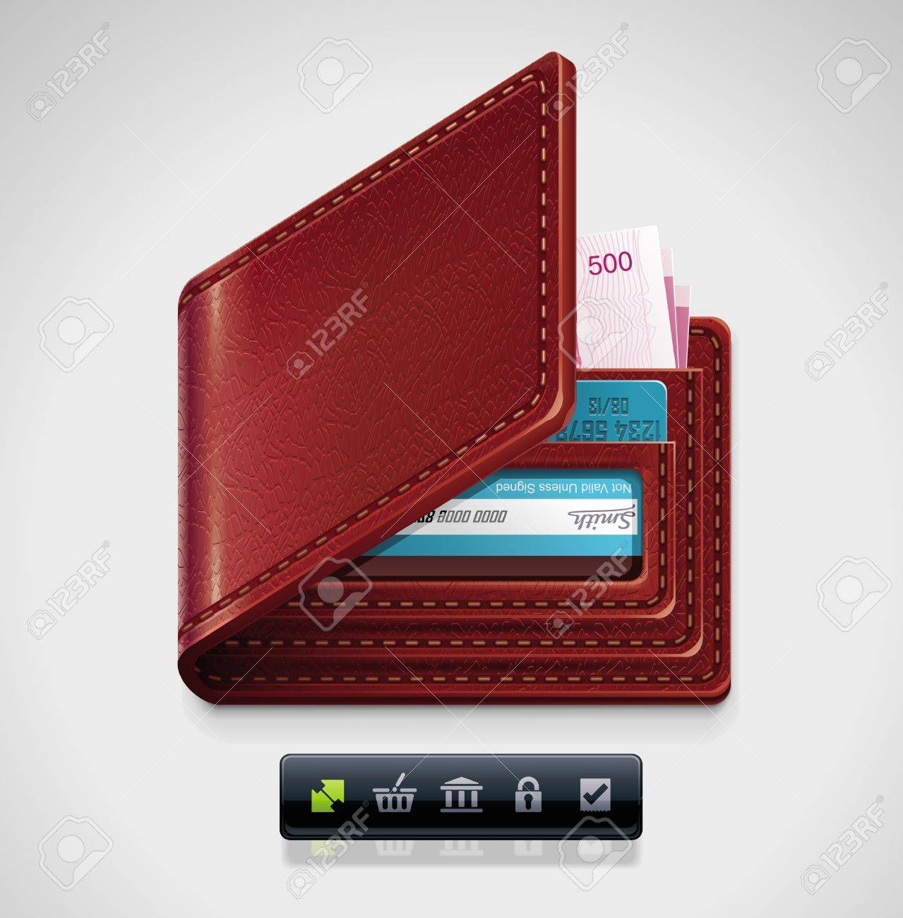 leather wallet XXL icon Stock Vector - 9932284