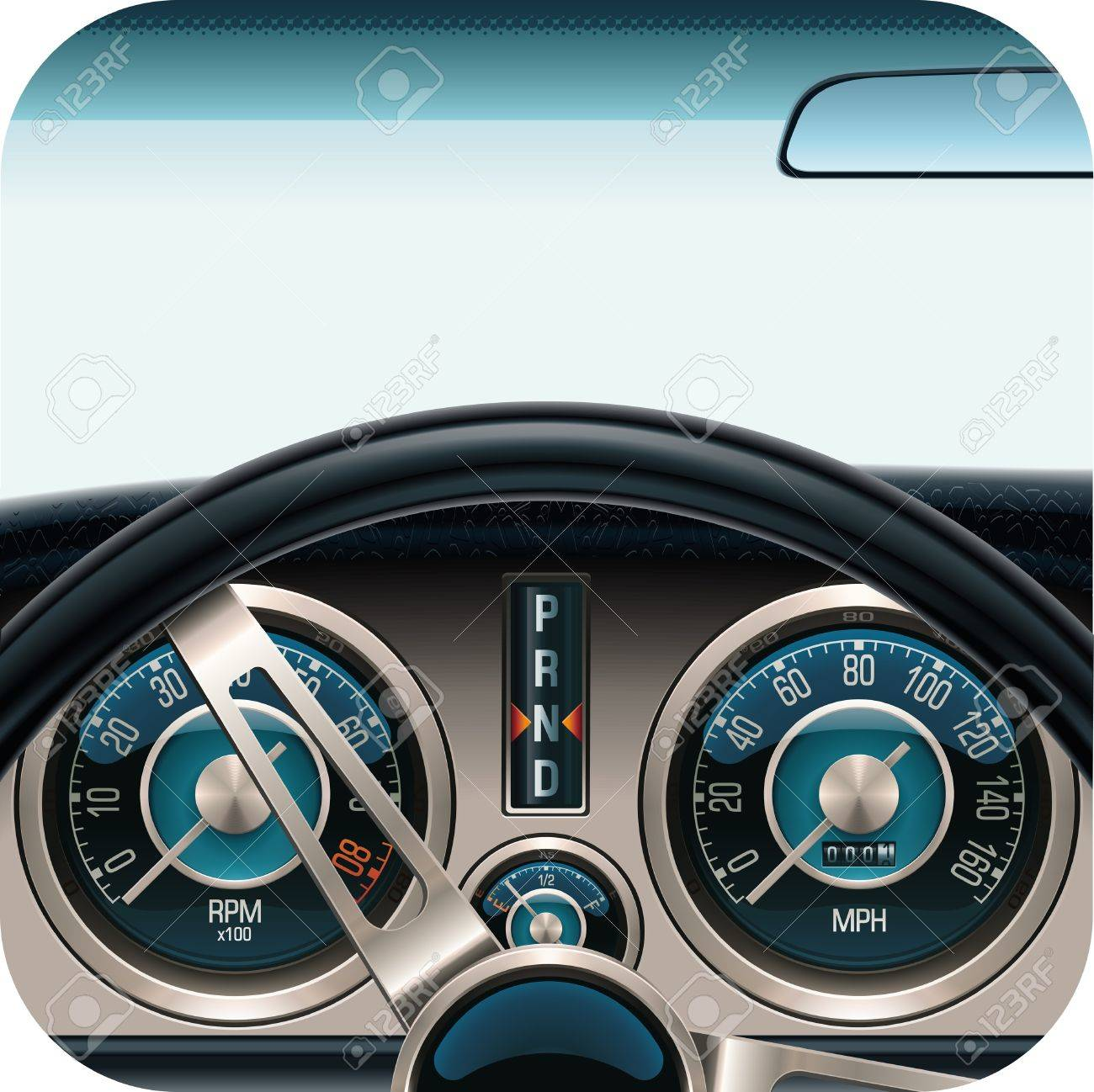Vector car dashboard square icon Stock Vector - 10002793