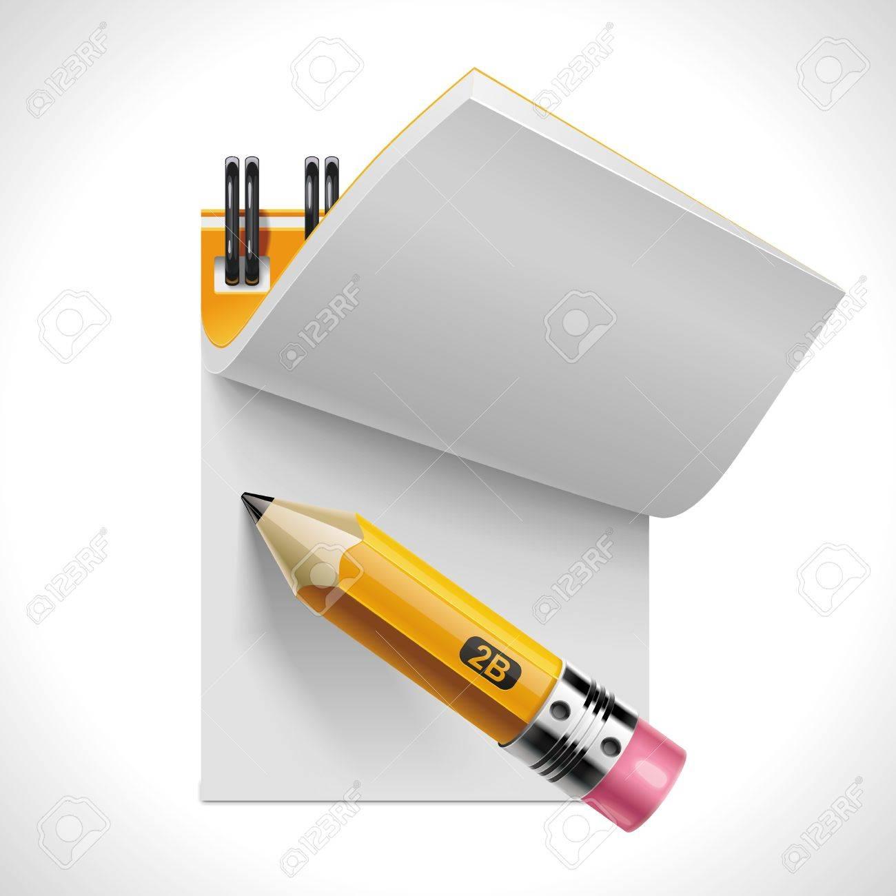 Vector open notepad with pencil XXL icon Stock Vector - 10002786