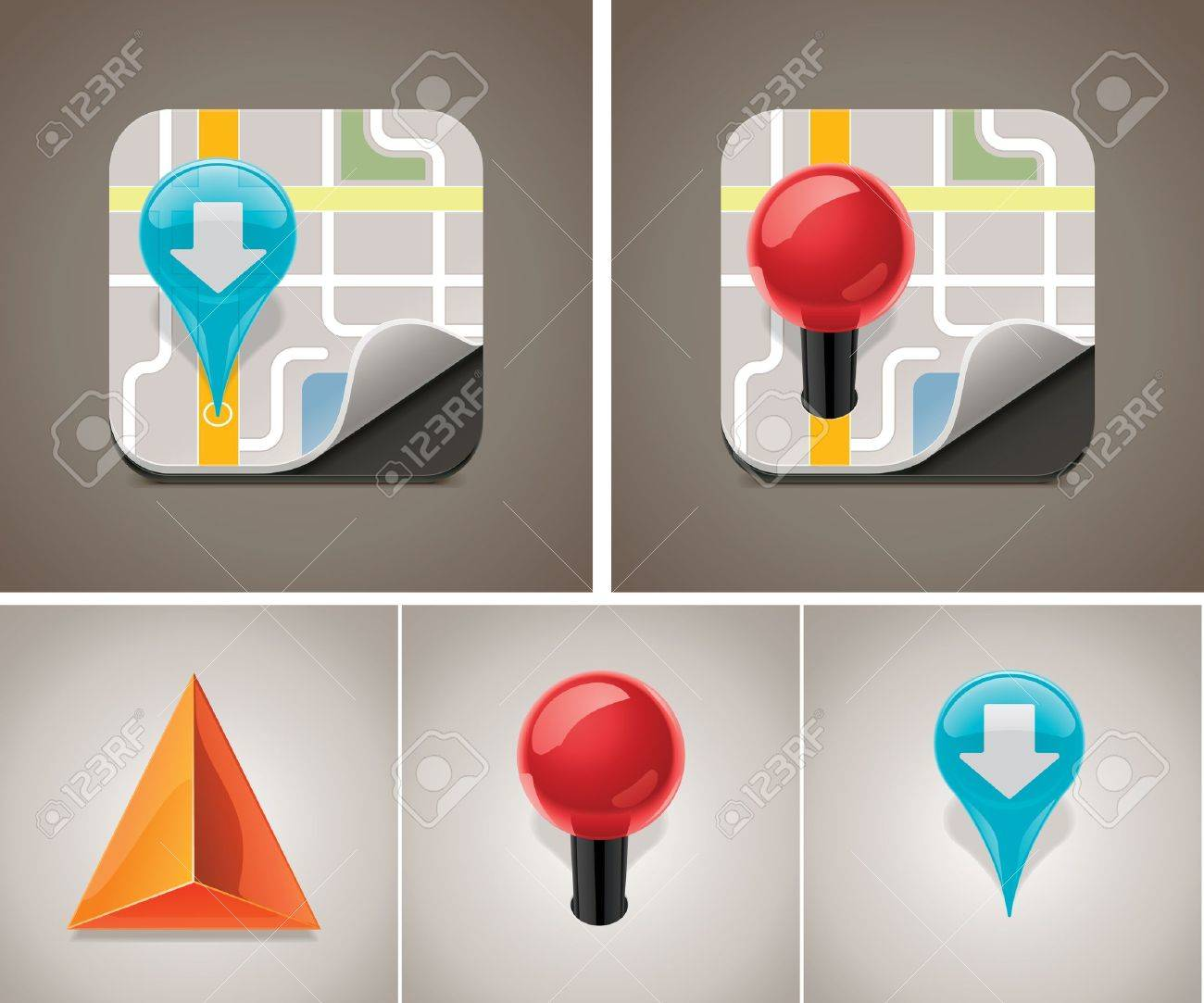 Vector map icon set Stock Vector - 10754006