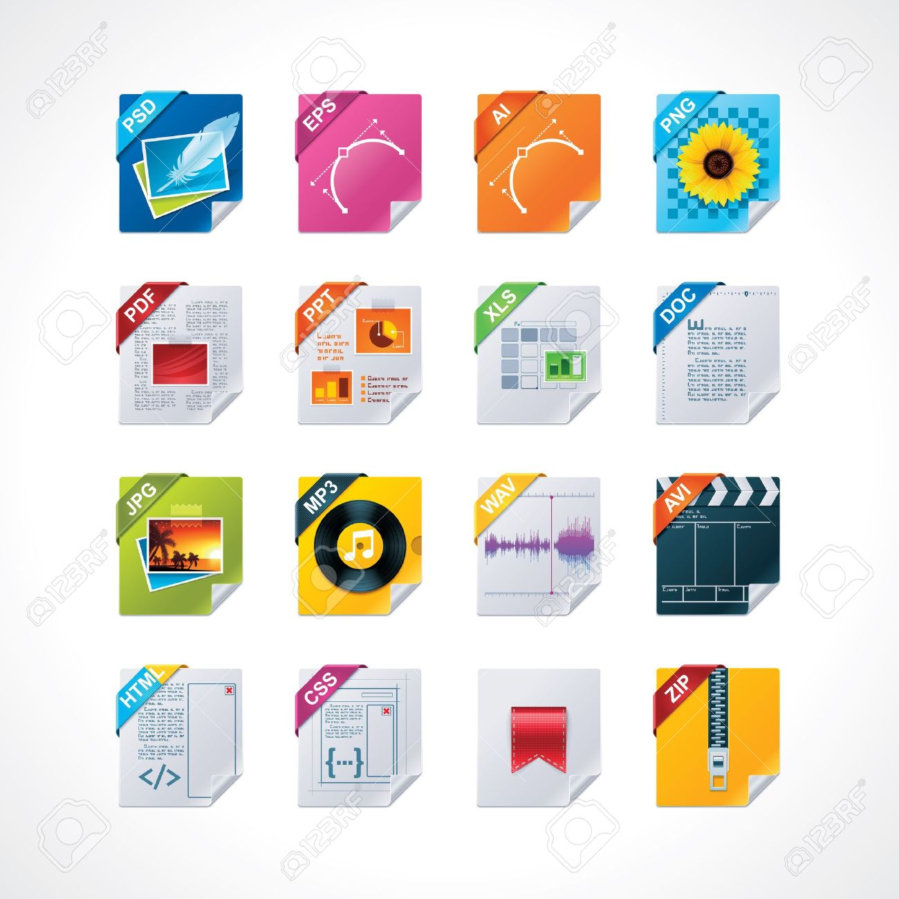 File labels icon set Stock Vector - 11004044