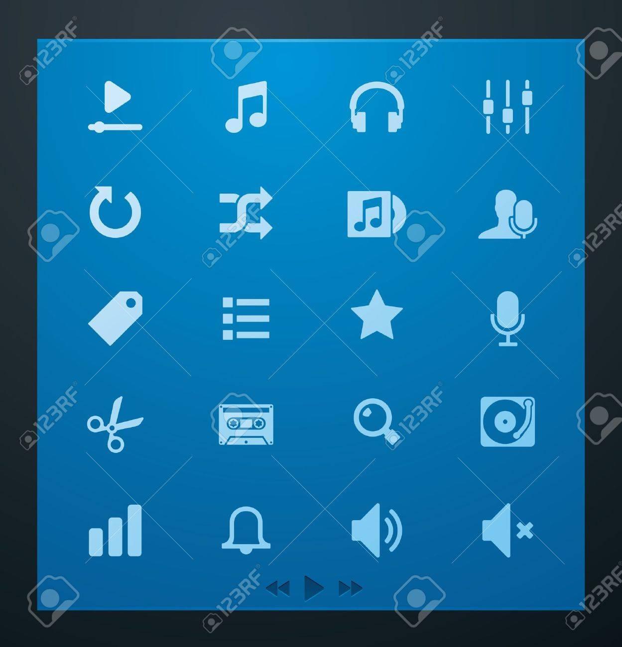Universal glyphs 4. Audio and music set Stock Vector - 11674548