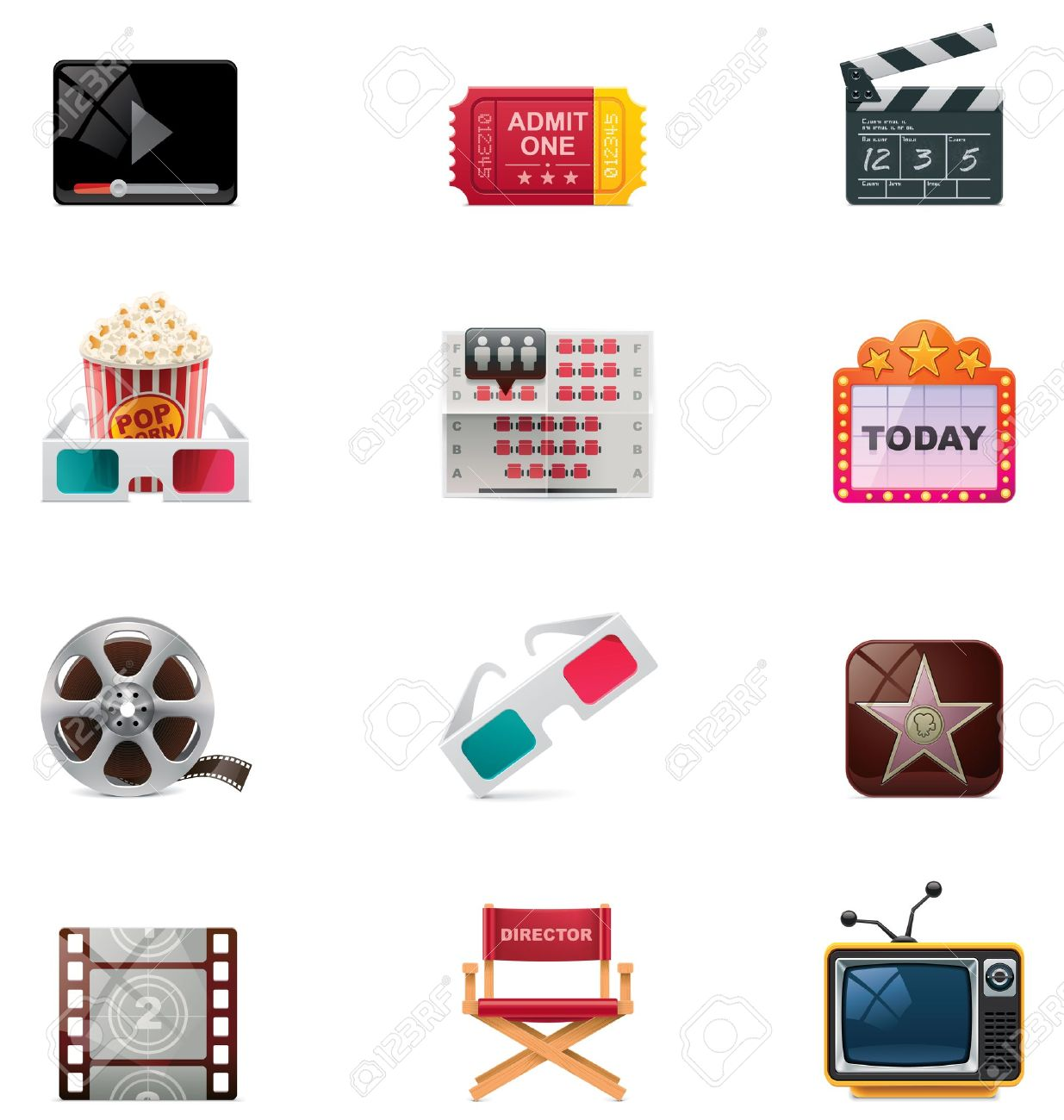 Vector cinema icon set Stock Vector - 11674552