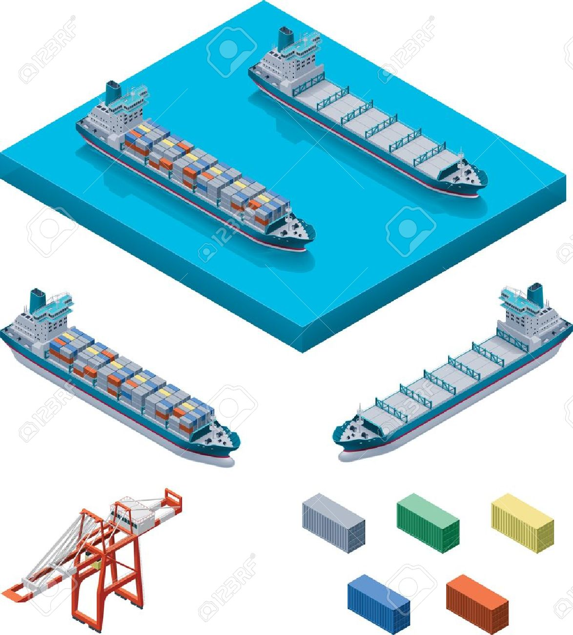 Vector container ship with crane Stock Vector - 13125179