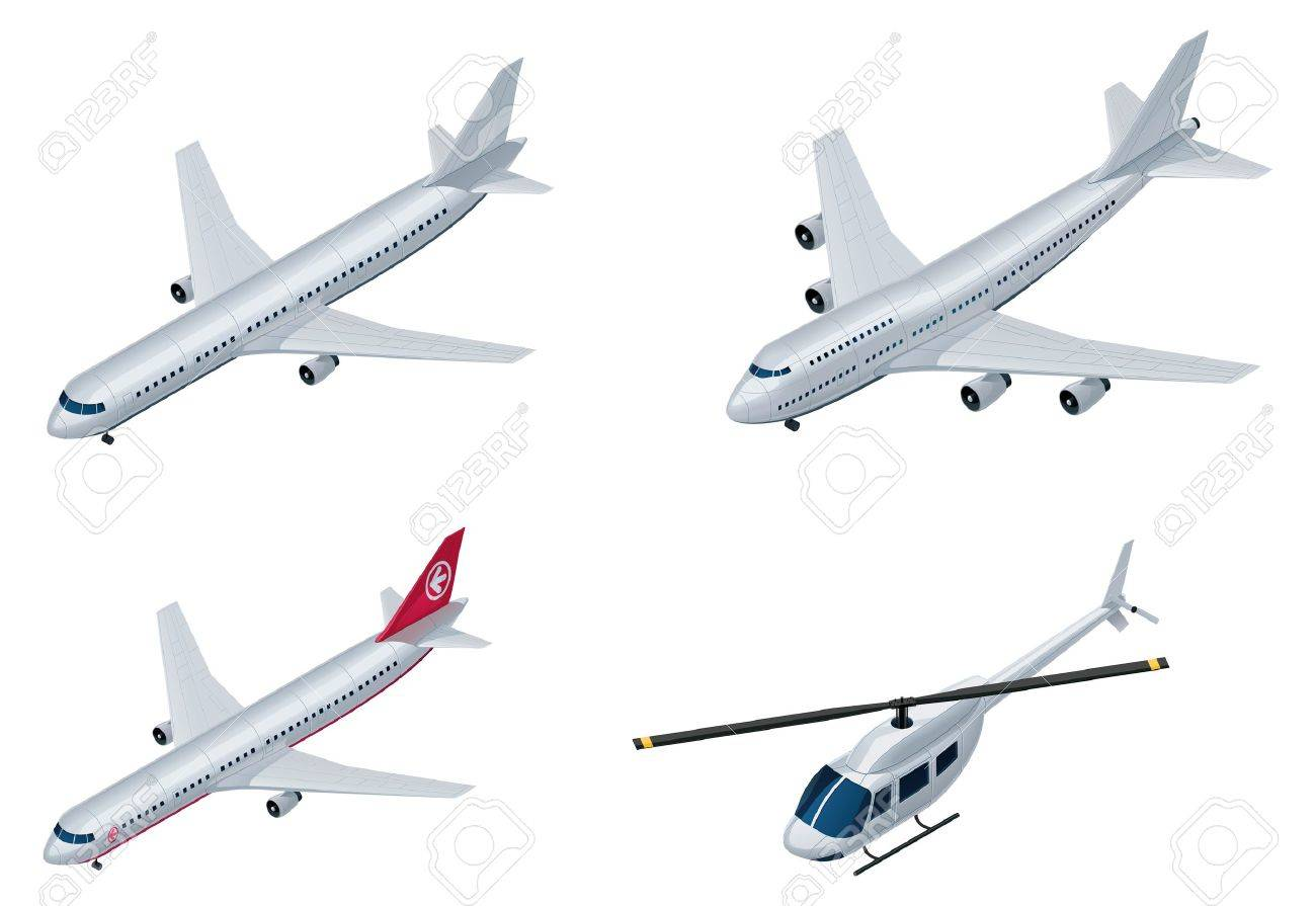 vector isometric airplanes royalty free cliparts vectors and