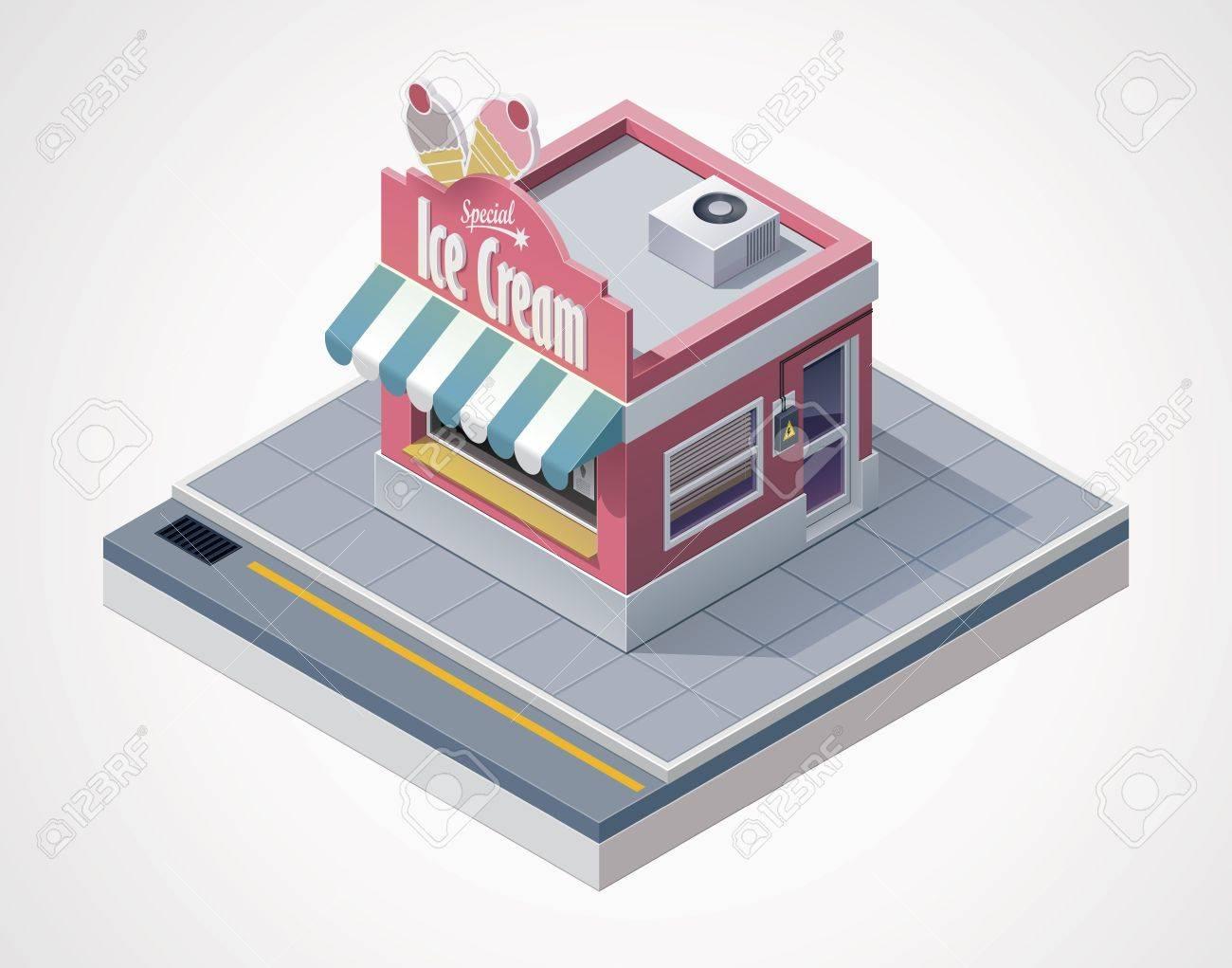 isometric ice cream store Stock Vector - 14566611