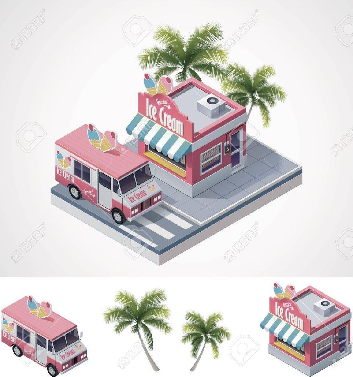 isometric ice cream store and truck Stock Vector - 14566618