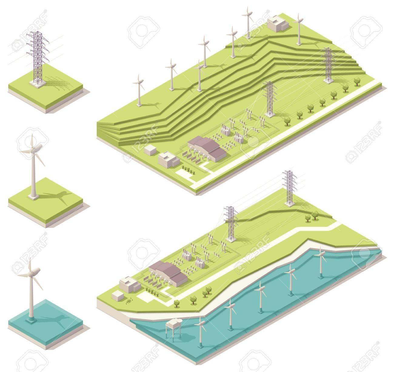 Isometric wind farm Stock Vector - 20235010