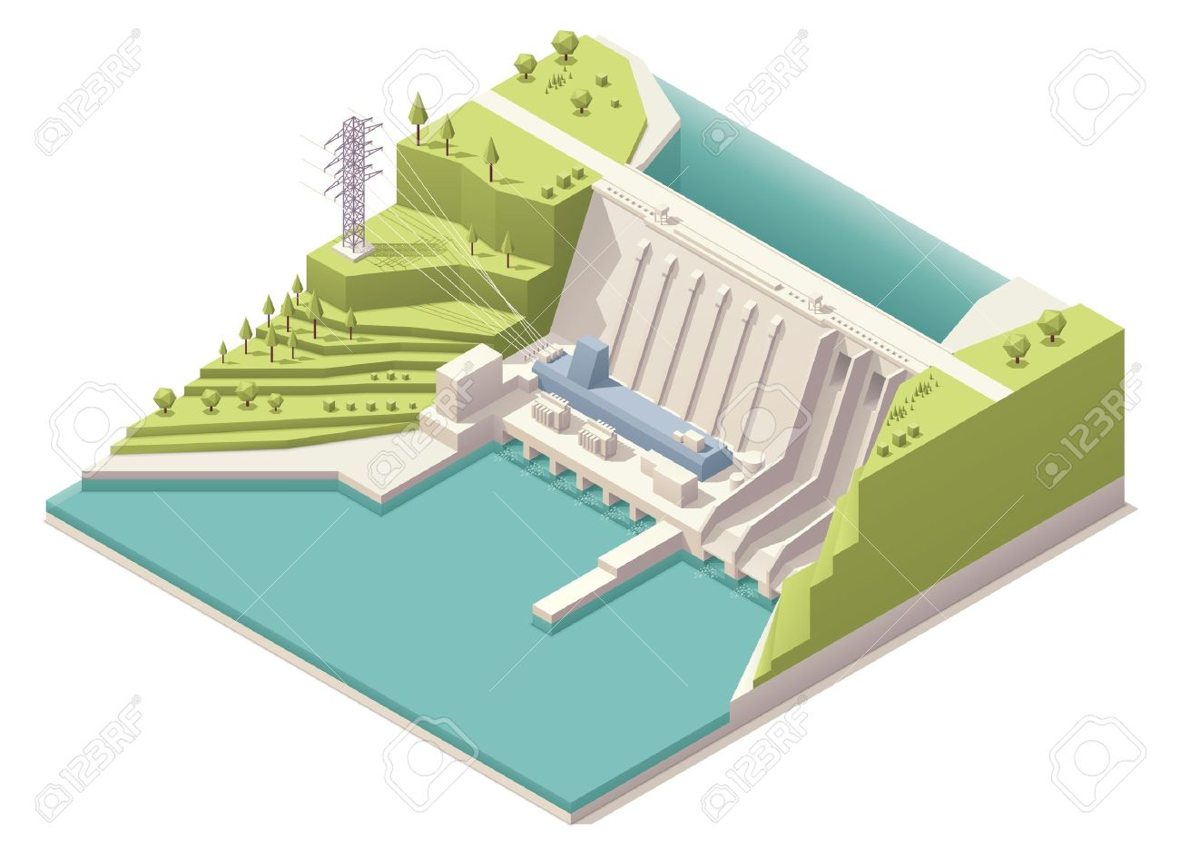 Isometric hydroelectric power station Stock Vector - 20235011