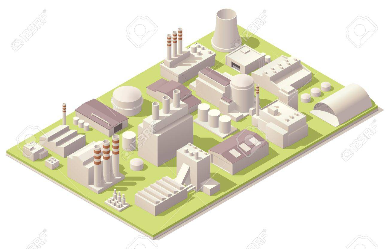 Isometric Factory Buildings Royalty Free Cliparts Vectors And