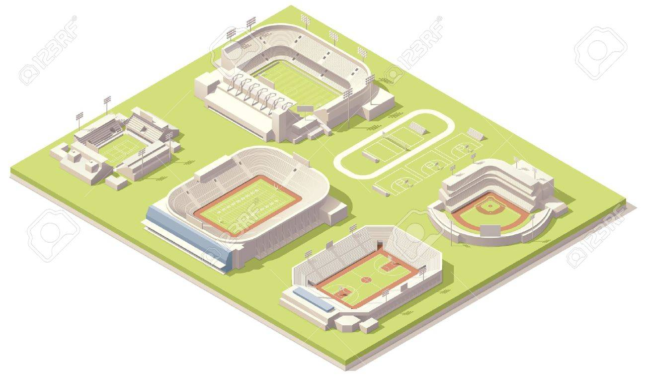 Isometric stadium buildings set Stock Vector - 20725232
