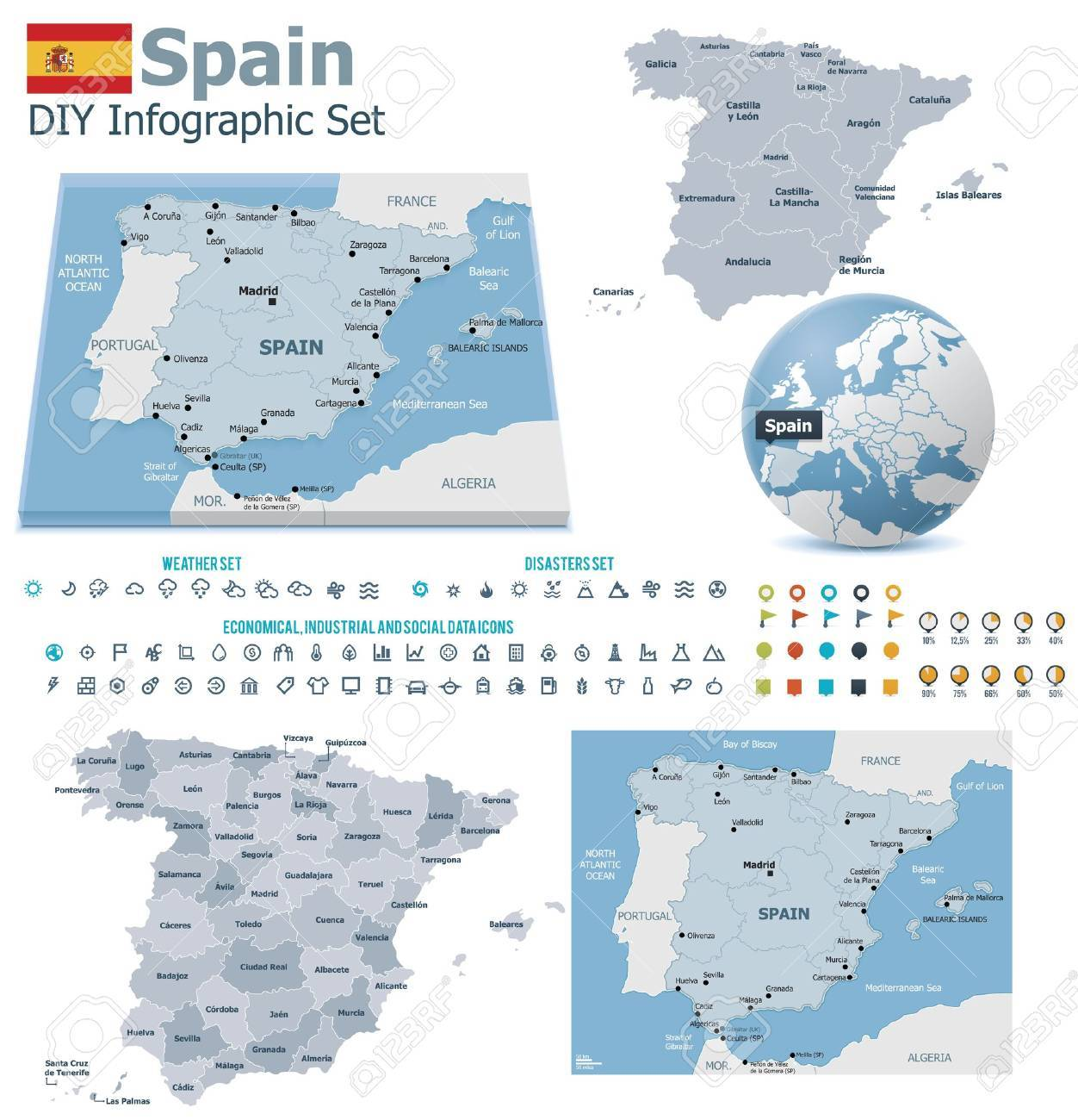 Spain maps with markers Stock Vector - 21427774