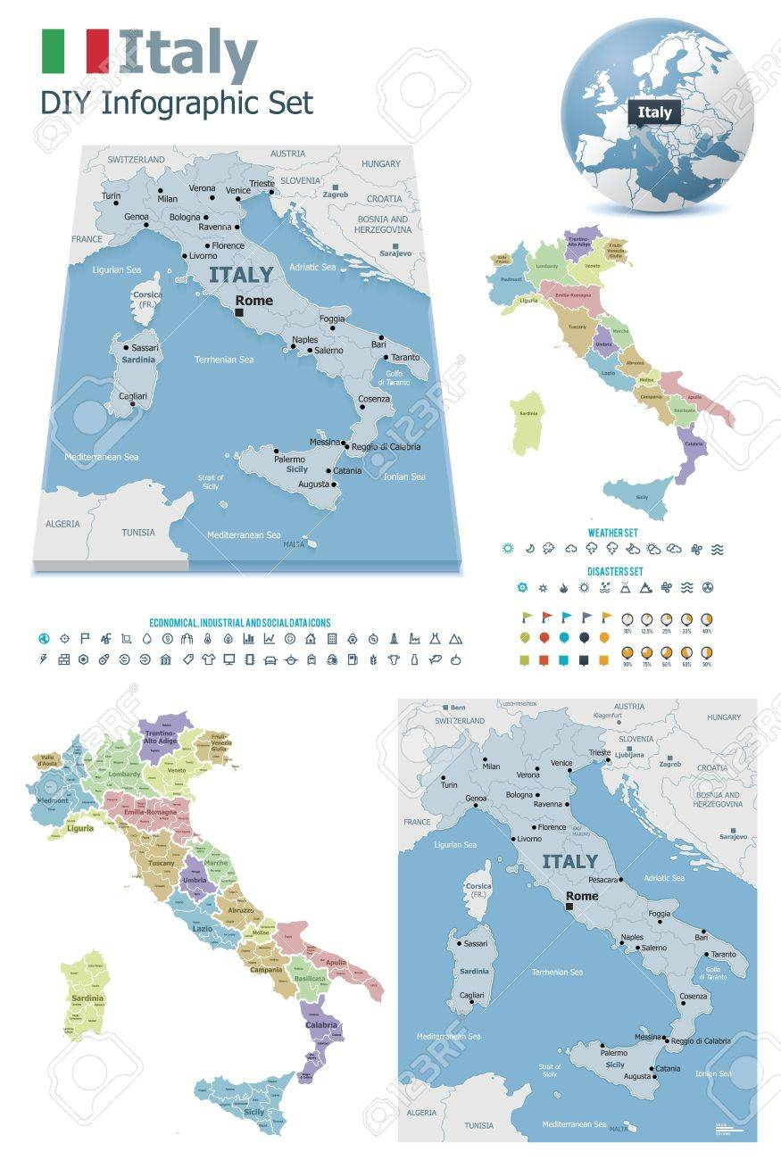 Italy maps with markers Stock Vector - 21427782
