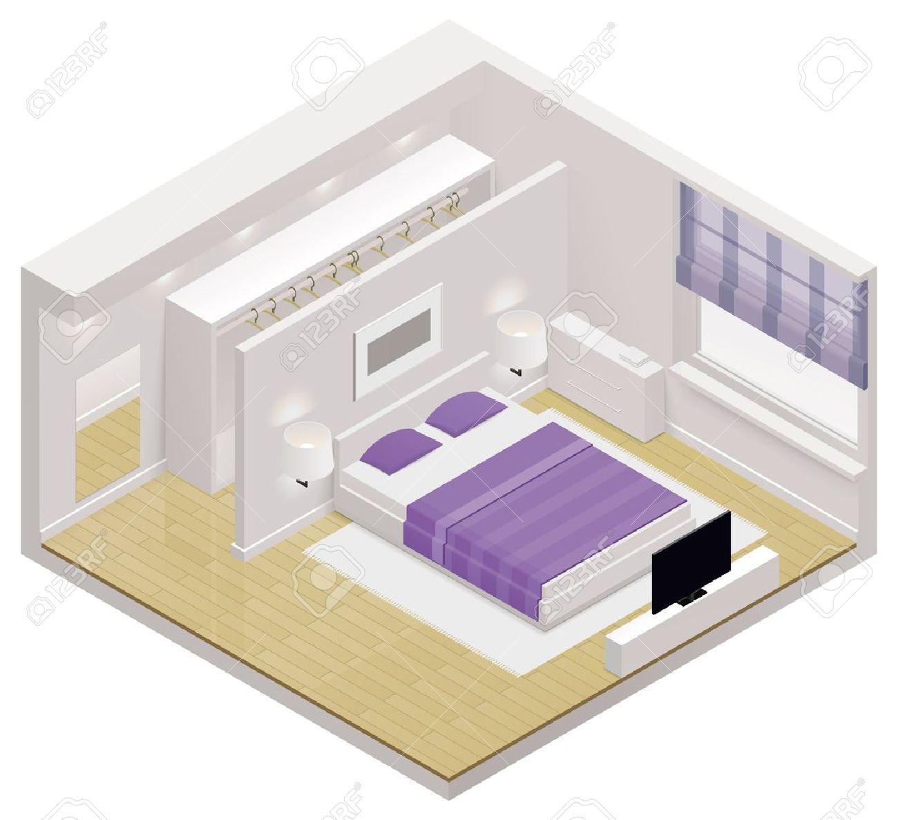 Isometrisk sovrum ikon royalty fri clipart, vektorer och ...