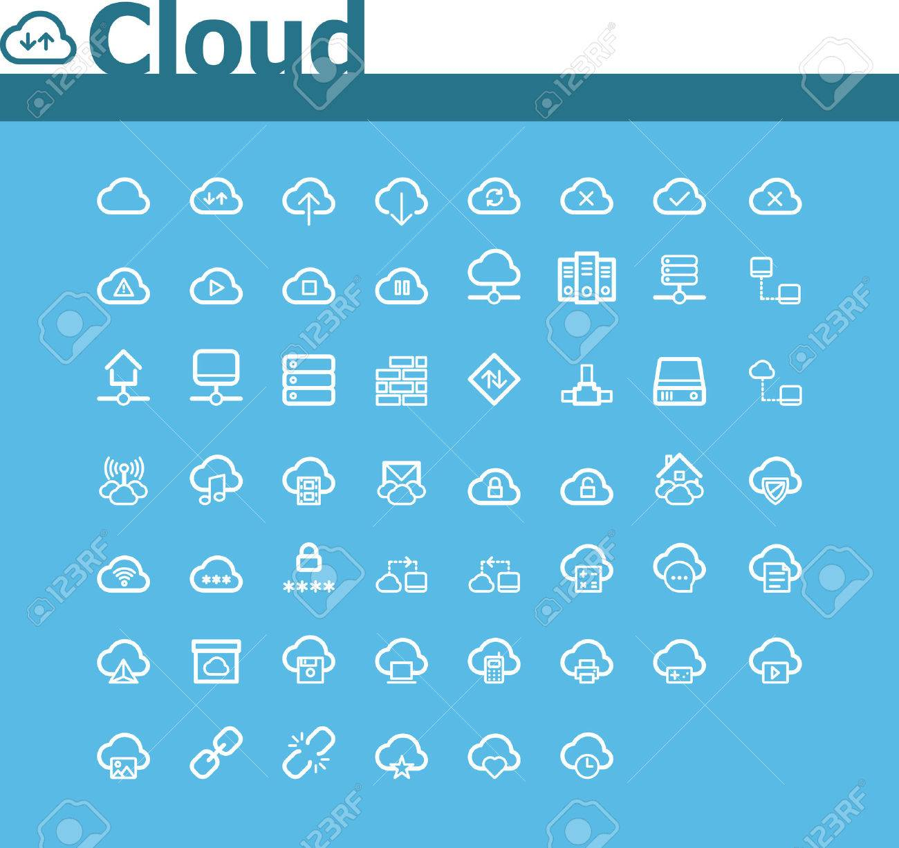 Cloud computing icon set Stock Vector - 24902245