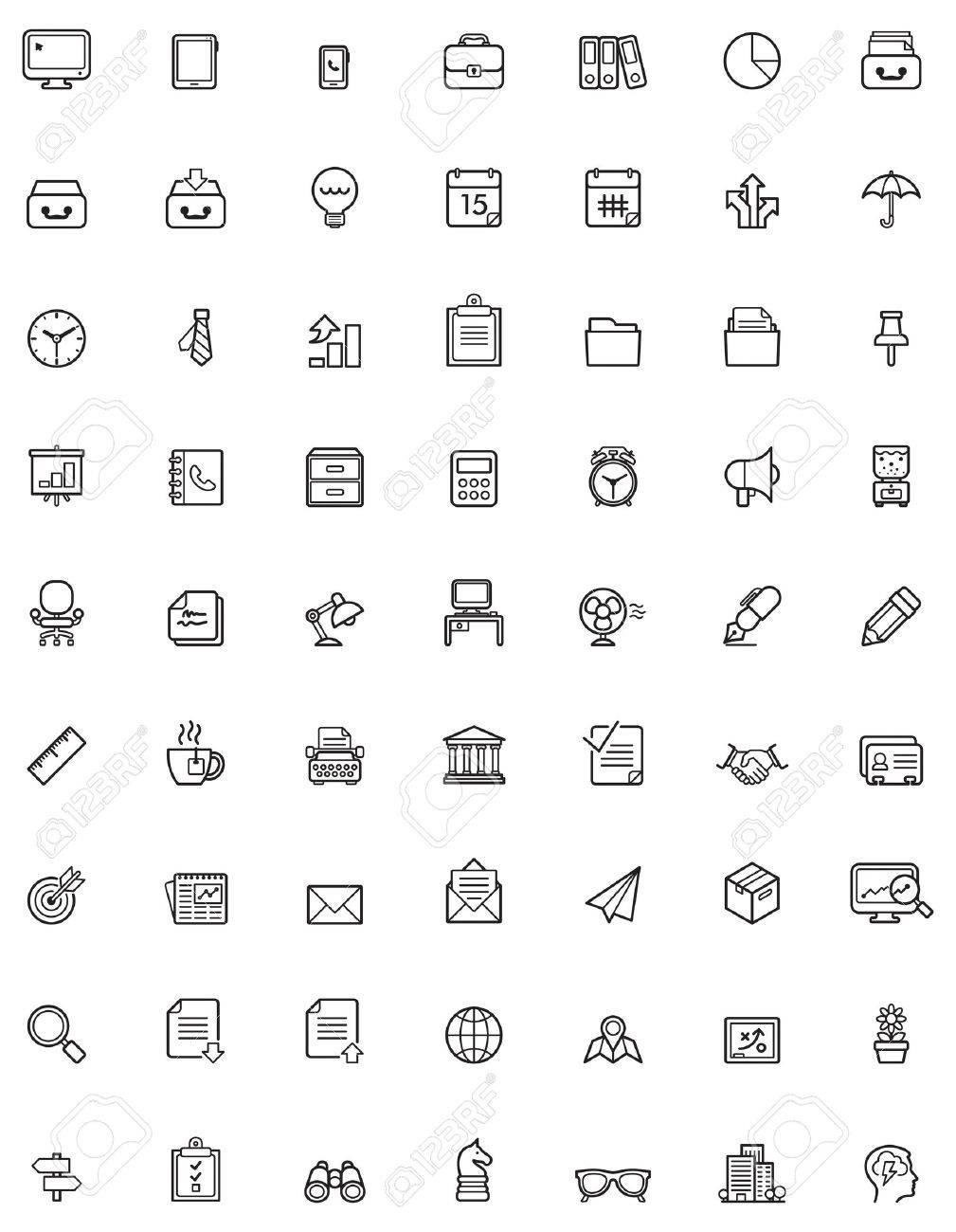 Einfache Geschafts Und Buro Icon Set Lizenzfrei Nutzbare