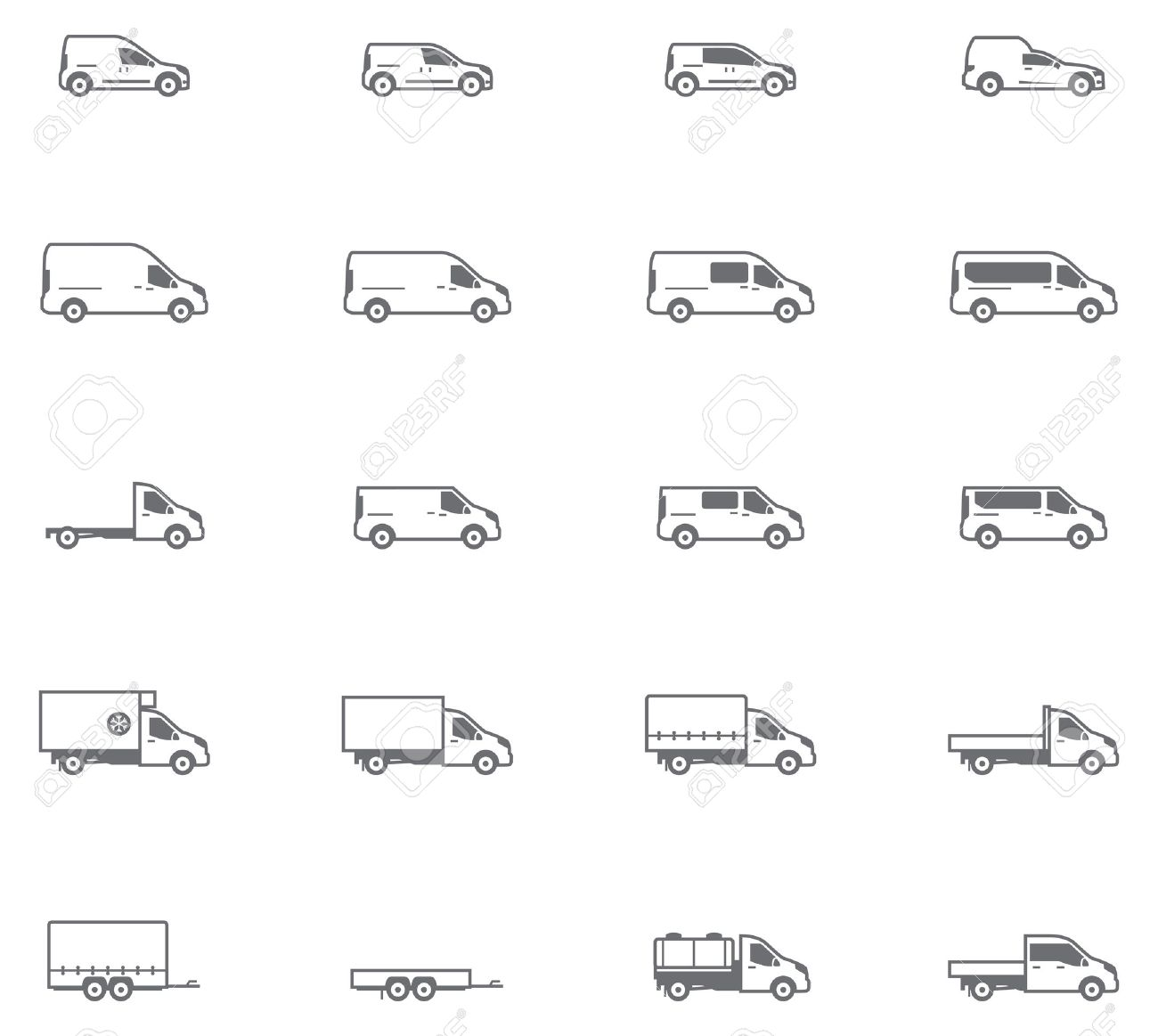 Set of the different types of commercial transport vehicles - 36657196