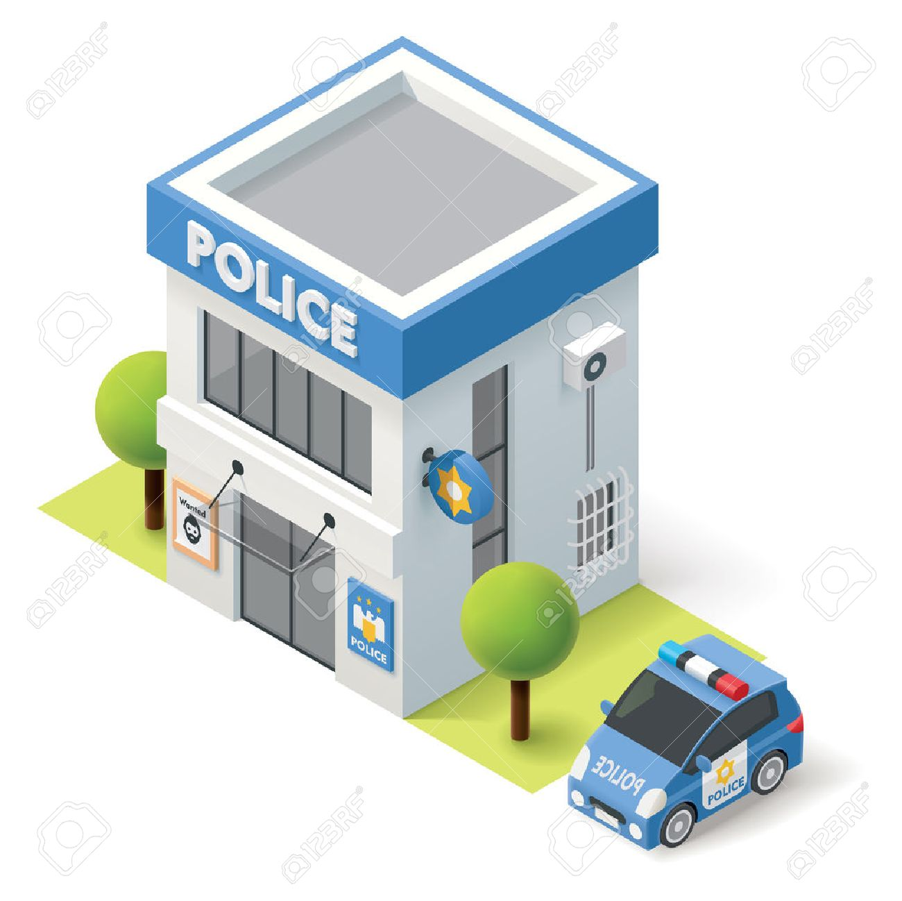 Police station clipart  Vector Isometric Police Department Building Icon Royalty Free ...