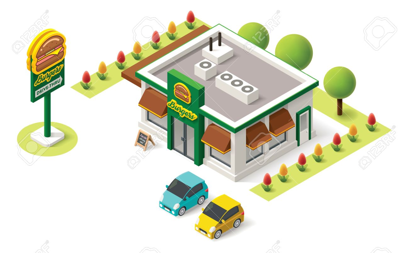 Building cartoon clipart restaurant building and restaurant building - Vector Isometric Fast Food Building Icon Stock Vector 39983086