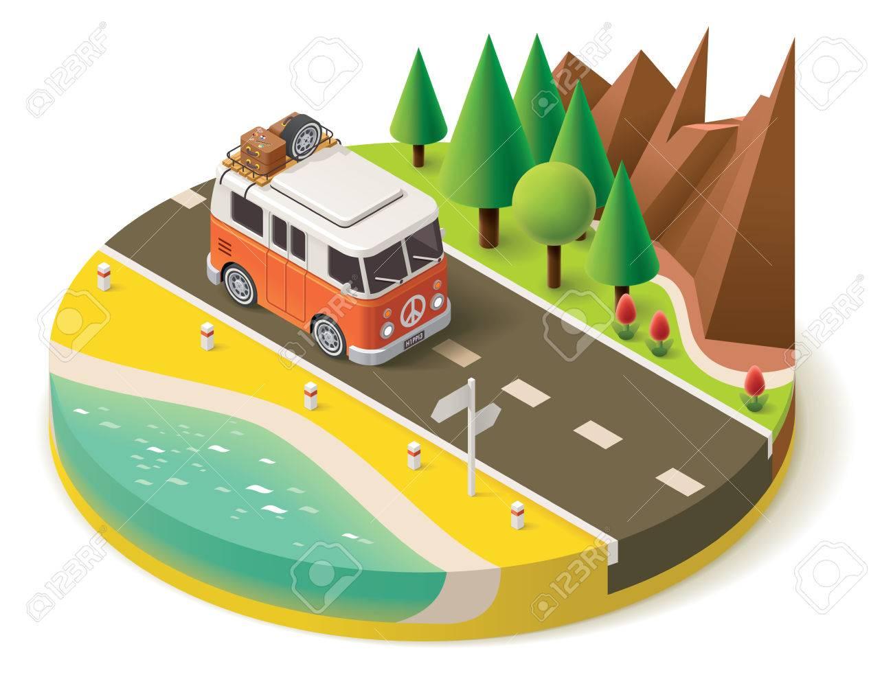 Isometric camper van on the road - 39983090
